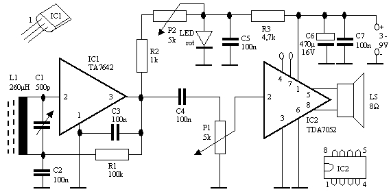 Electronic Selector For 8 Sources also 800w Power  lifier Mosfet together with Small Transistor Lifier Circuit in addition Simple Am Receiver in addition 5v Audio  lifier Diagram. on tda7052 amplifier