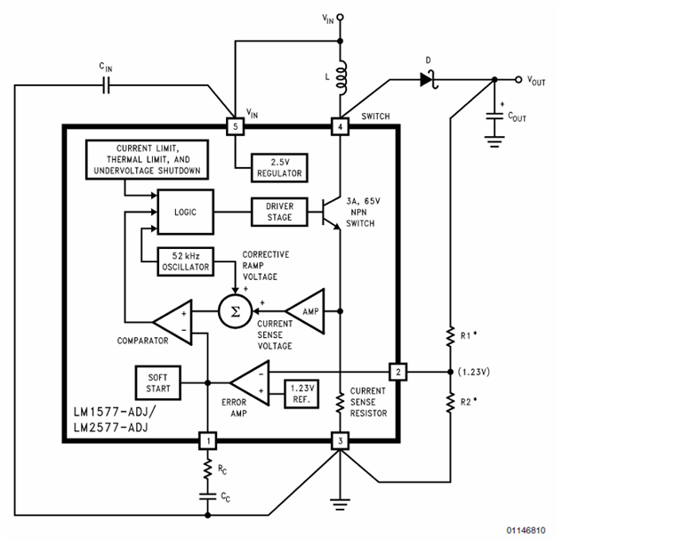 node analysis for lm2577 block diagram