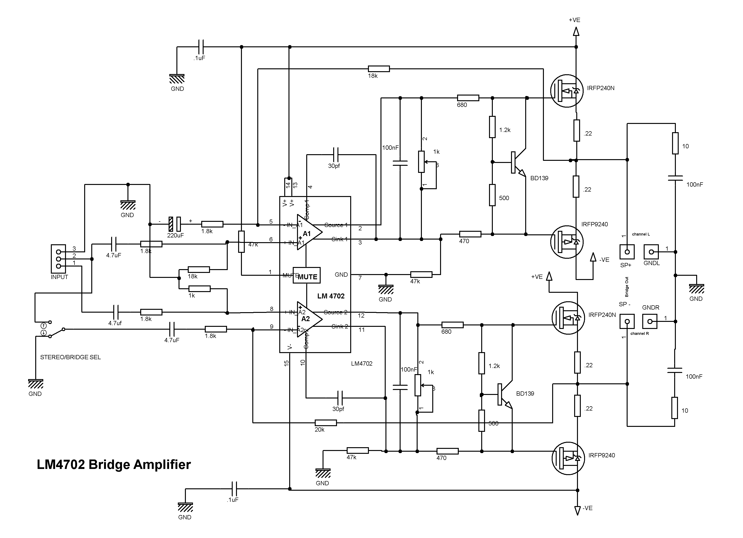 lm4702   mosfet bridge power amplifier