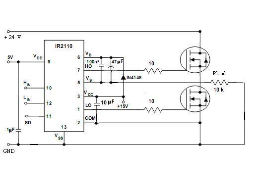 Full Bridge Inverter With Mosfet And Ir2110 Gate Driver