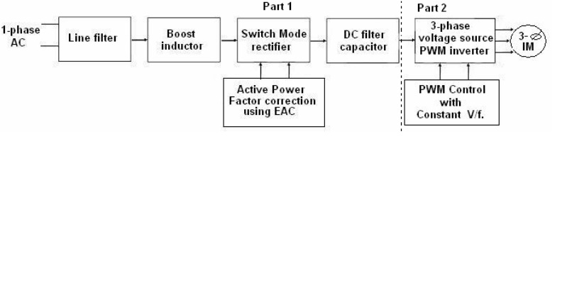 Single Phase To Three Phase Converter For Driving Three