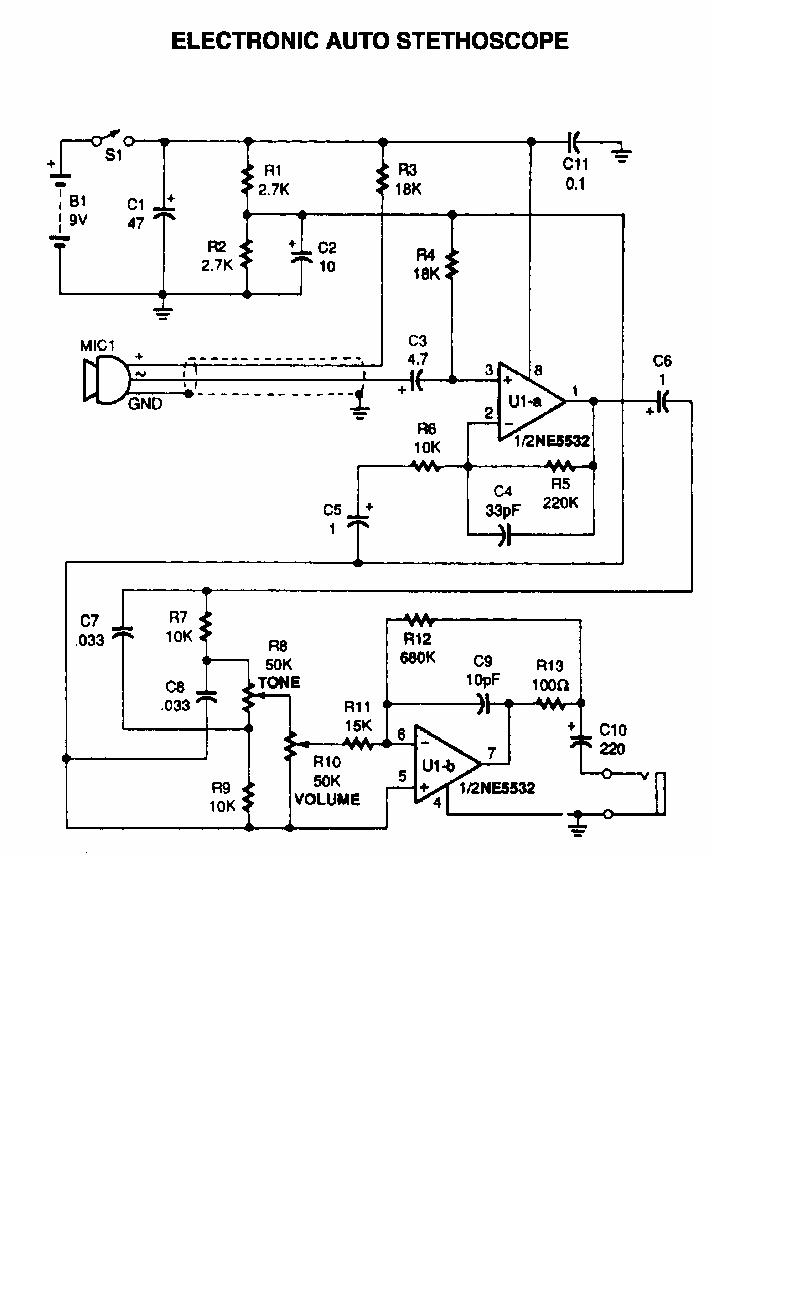 please explain this digital stethoscope circuit operation