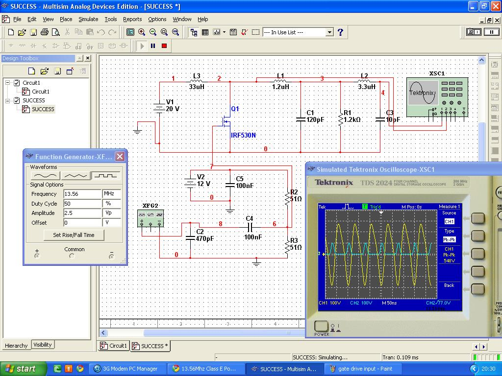 1356mhz Class E Power Amplifier For Plasma Generation Function Generator Electronic Circuits Will This Circuit Work I Doubt That Because Before Manage To Get The Same Output Just By Applying Signal From But Failed In Real